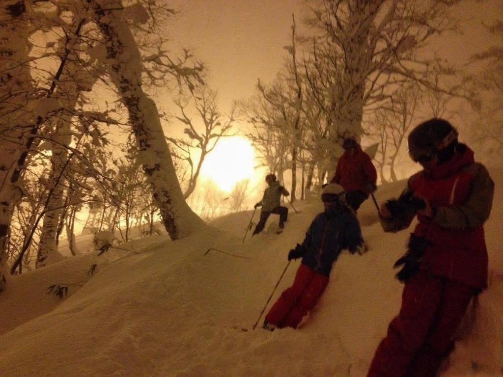 Night skiing in Rusutsu