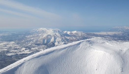 Skiing into the crater of a semi-active volcano