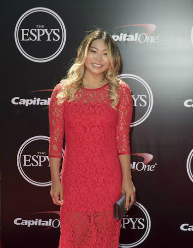 Chloe Kim snowboarder red dress