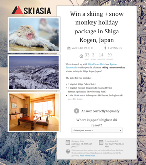 Ski Asia giveaway screenshot