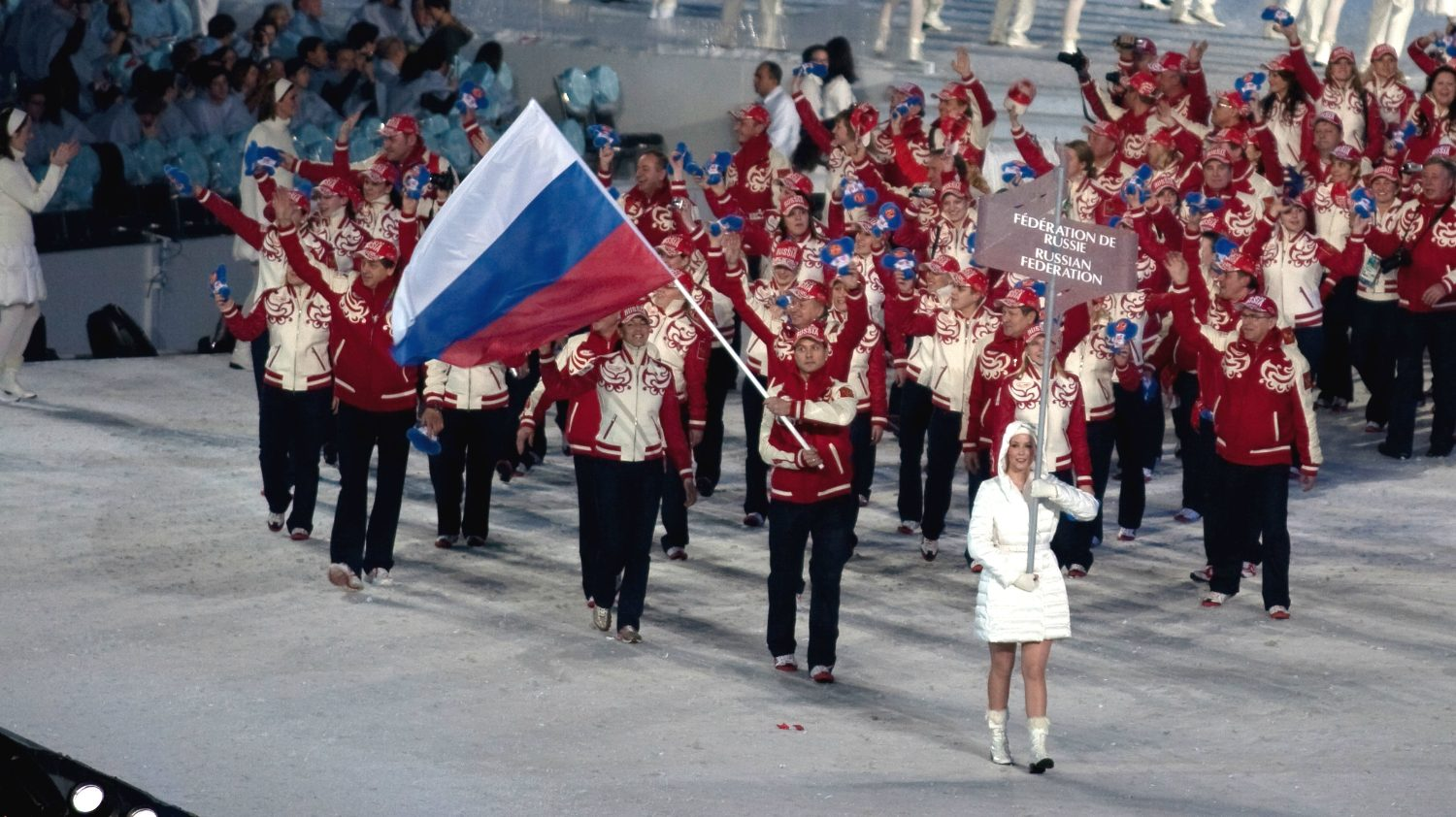 Russia Winter Olympics flag ceremony