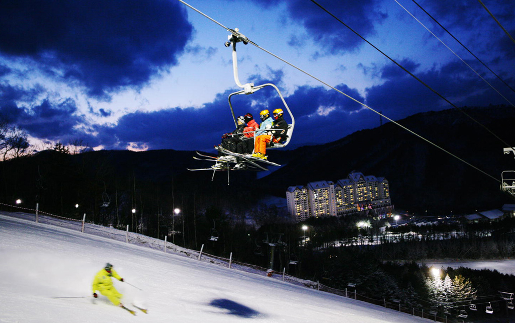 YongPyong ski resort at night