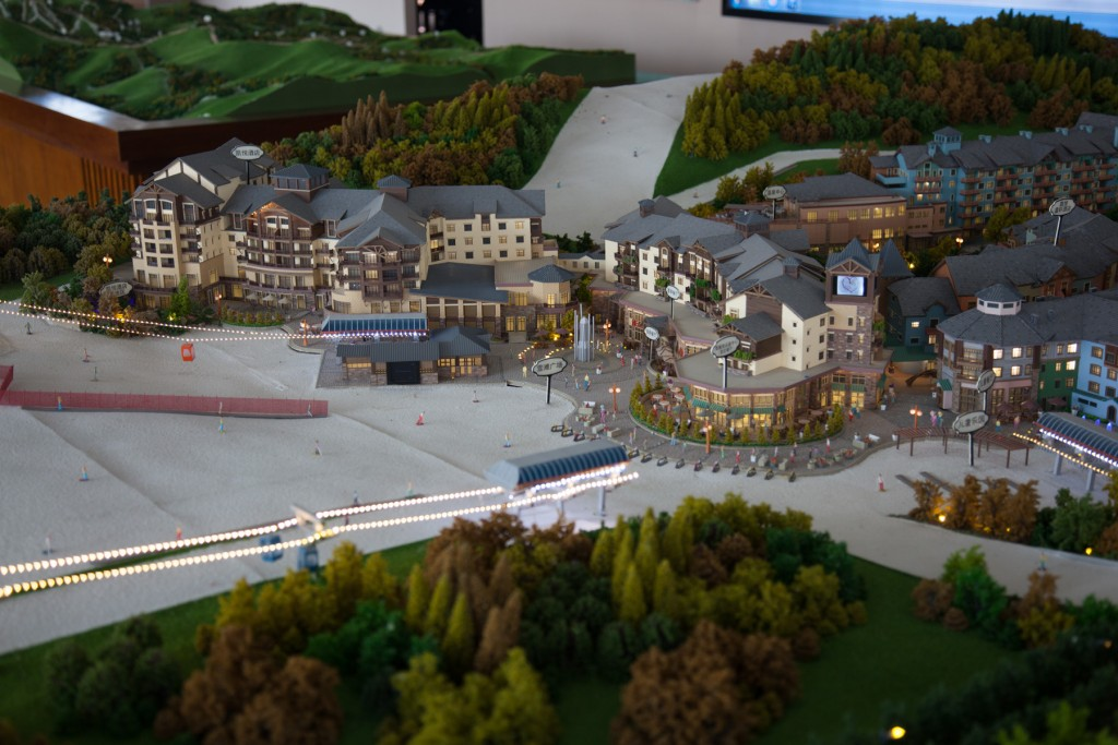 A model depicts Thaiwoo's plans for a Whistler-style walk-through village. Image: Thaiwoo Ski Resort
