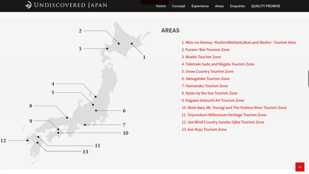 Tourism areas in Japan