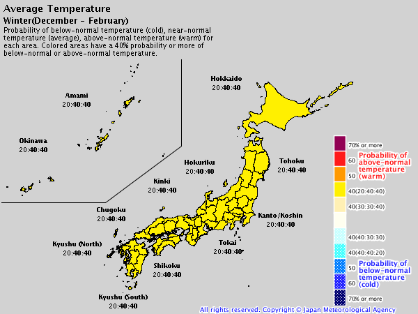 Japan 2019/20 winter forecast – temperature