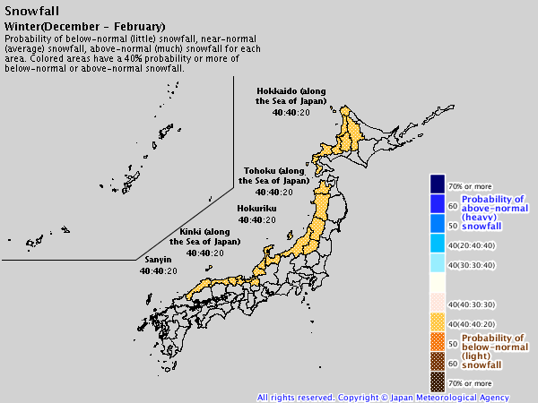 Japan 2019/20 winter forecast – snowfall