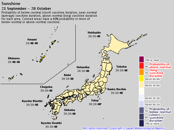 Japan 2019/20 winter forecast – sunshine