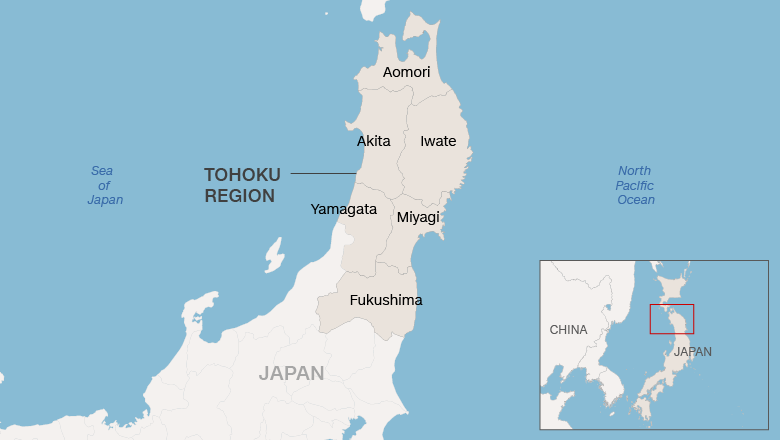 Map of Tohoku