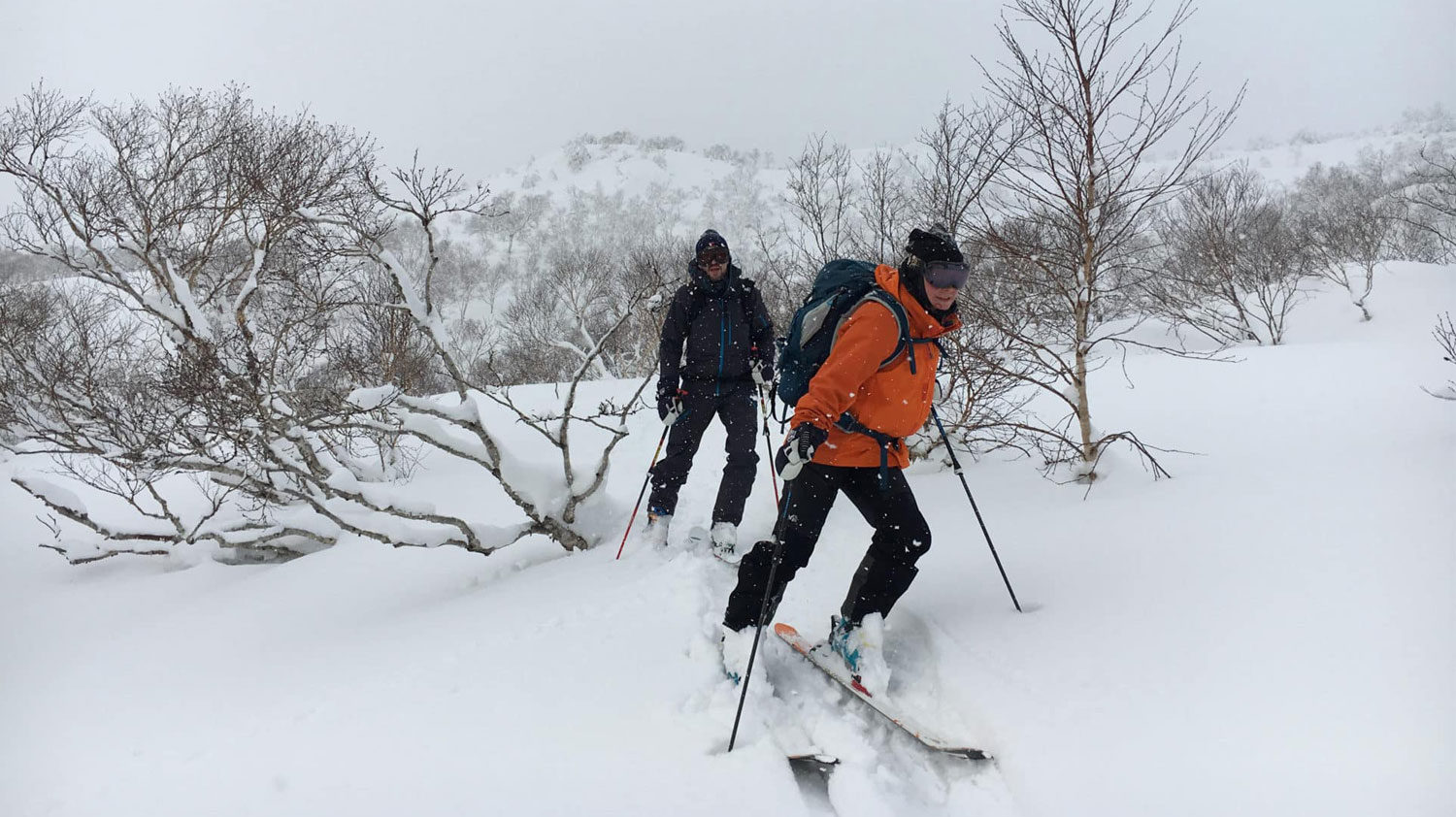 Backcountry skiing near Sapporo